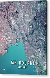 Melbourne 3d Render Satellite View Topographic Map Acrylic Print by Frank Ramspott