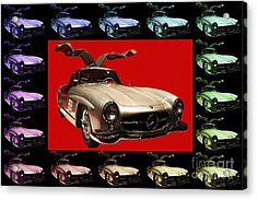 Mercedes 300sl Gullwing . Front Angle Artwork Acrylic Print by Wingsdomain Art and Photography