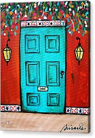 Mexican Door Painting Acrylic Print by Pristine Cartera Turkus