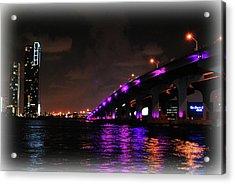 Miami Skyline At Night 2 Acrylic Print by Amanda Vouglas