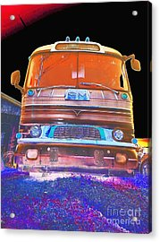 Mid Century Gm Greyhound Bus Abstract Acrylic Print by Scott D Van Osdol
