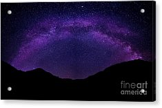 Acrylic Print featuring the photograph milky way above the Alps by Hannes Cmarits