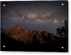 Milky Way Galaxy Over Zion Canyon Acrylic Print