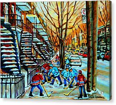 Montreal Hockey Paintings Acrylic Print by Carole Spandau