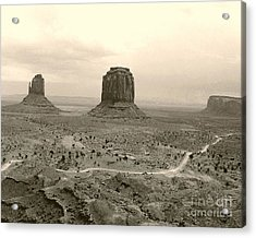 Monument Valley Panorama At Dusk Acrylic Print by Merton Allen