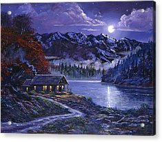 Moonlit Cabin Acrylic Print by David Lloyd Glover