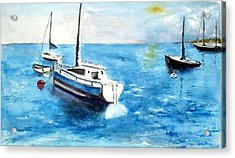 Acrylic Print featuring the painting Moored Boats by Sibby S