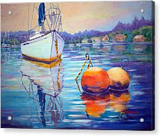 Mooring In Port Moody Acrylic Print by Val Philbrook