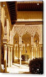 Moorish Architecture In The Nasrid Palaces At The Alhambra Granada Acrylic Print by Mal Bray