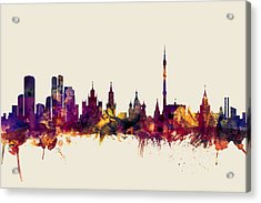 Moscow Russia Skyline Acrylic Print by Michael Tompsett