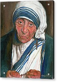 Mother Teresa Acrylic Print by Carole Spandau