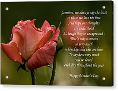 Acrylic Print featuring the photograph Mother's Day Card 5 by Michael Cummings