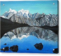 Mountains Landscape Acrylic Painting Acrylic Print by Natalja Picugina