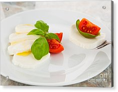 Mozzarella Salad With Tomatoes And Basil On A Fork Acrylic Print