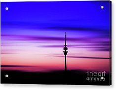 Acrylic Print featuring the photograph Munich - Olympiaturm At Sunset by Hannes Cmarits