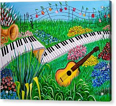 Musical Garden Acrylic Print by Kathern Welsh