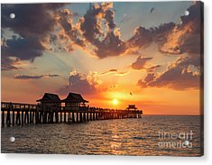 Acrylic Print featuring the photograph Naples Pier At Sunset by Brian Jannsen