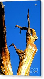 New Orleans Bird Tree Sculpture In Louisiana Acrylic Print by Michael Hoard
