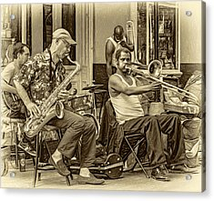 New Orleans Jazz - Sepia Acrylic Print by Steve Harrington