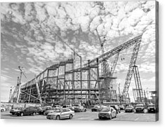 U S Bank Stadium Under Construction Acrylic Print by Jim Hughes