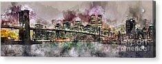 New York City Skyline Watercolor  Acrylic Print by Jon Neidert