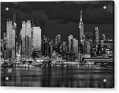 Acrylic Print featuring the photograph New York City Skyline Pride Bw by Susan Candelario