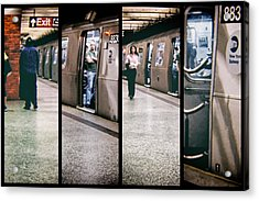 Acrylic Print featuring the photograph New York City Subway Stare by Lars Lentz
