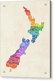 New Zealand Typography Text Map Acrylic Print by Michael Tompsett