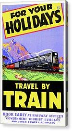 New Zealand Vintage Travel Poster Restored Acrylic Print