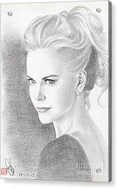 Acrylic Print featuring the drawing Nicole Kidman by Eliza Lo