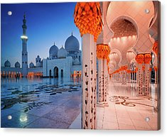 Night View At Sheikh Zayed Grand Mosque, Abu Dhabi, United Arab Emirates Acrylic Print