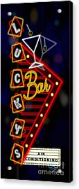 Nightclub Sign Luckys Bar Acrylic Print