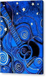 Night's Melody A.k.a. Blue Guitar Acrylic Print by Monica Furlow