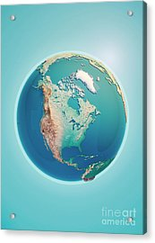 North America 3d Render Planet Earth Acrylic Print
