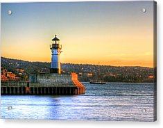 North Pier Lighthouse Acrylic Print by Bryan Benson