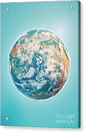 North Pole 3d Render Planet Earth Clouds Acrylic Print