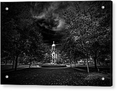 Notre Dame University Black White Acrylic Print by David Haskett
