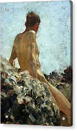 Acrylic Print featuring the painting Nude Study by Henry Scott Tuke