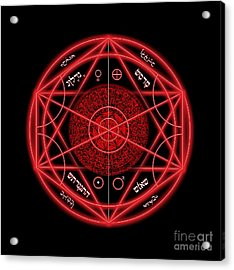 Occult Magick Symbol On Red By Pierre Blanchard Acrylic Print by Pierre Blanchard