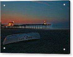 Ocean City  N J Sunrise Acrylic Print by Allen Beatty