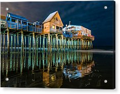 Old Orchard Dock Night Reflection Acrylic Print