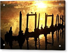 Old Pier At Sunset Acrylic Print