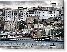Old Port Mahon And Italian Sail Training Vessel Palinuro Hdr Acrylic Print