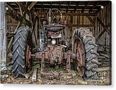 Old Tractor In The Barn Acrylic Print by Edward Fielding
