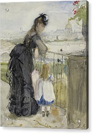 On The Balcony Acrylic Print by Berthe Morisot