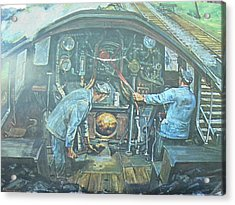 Acrylic Print featuring the painting On The Footplate by Mike Jeffries