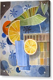 Orange And Blue Vase Abstracted Acrylic Print by Bill Meeker