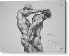 Original Drawing Sketch Charcoal Male Nude Gay Interest Man Art Pencil On Paper -0035 Acrylic Print