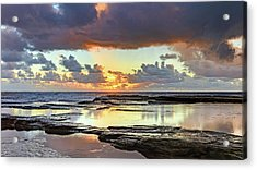 Overcast And Cloudy Sunrise Seascape Acrylic Print