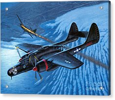 P-61 Black Widow - Caught In The Web Acrylic Print by Stu Shepherd